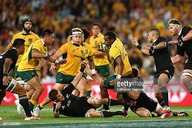 Tevita Kuridrani of the Wallabies is tackled during The Bledisloe Cup match between the Australian Wallabies and the New Zealand All Blacks at...