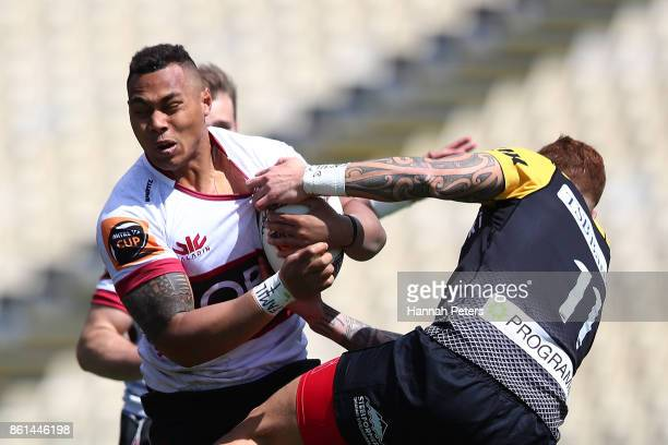 Tevita Li of North Harbour charges forward during the round nine Mitre 10 Cup match between North Harbour and Taranaki at QBE Stadium on October 15...