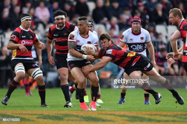 Tevita Li of North Harbour is tackled by Ben Funnell of Canterbury during the Mitre 10 Cup Semi Final match between Canterbury and North Harbour at...