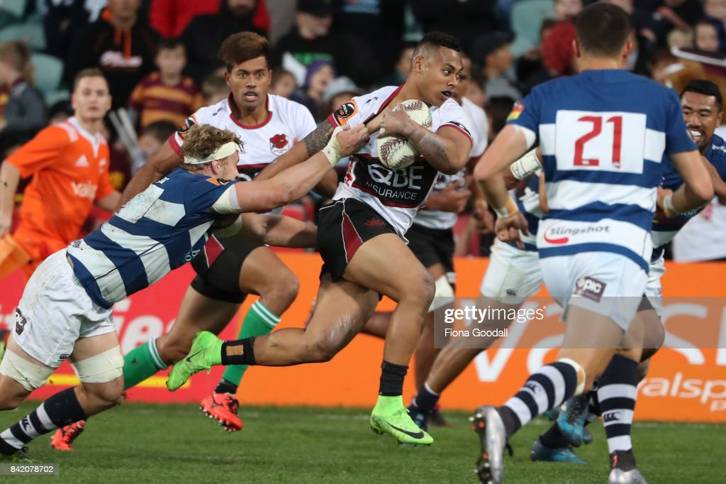 Tevita Li of North Harbour scores a try during the round three Mitre 10 Cup match between North Harbour and Auckland on September 3, 2017 in Auckland, New Zealand.