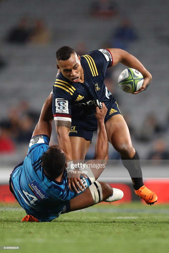 Tevita Li of the Highlanders is tackled during the round 10 Super Rugby match between the Blues and the Highlanders at Eden Park on April 20, 2018 in Auckland, New Zealand.