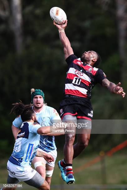 Tevita Nabura of Counties Manukau leaps up for a high ball during the round seven Mitre 10 Cup match between Counties Manakau and Northland at...