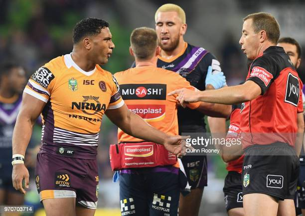 Tevita Pangai Junior of the Broncos argues with the referee during the round 14 NRL match between the Melbourne Storm and the Brisbane Broncos at...