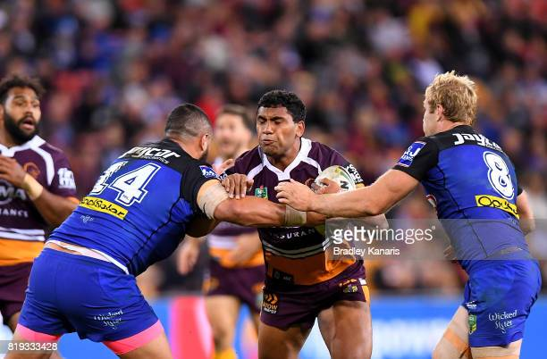 Tevita Pangai Junior of the Broncos takes on the defence during the round 20 NRL match between the Brisbane Broncos and the Canterbury Bulldogs at...