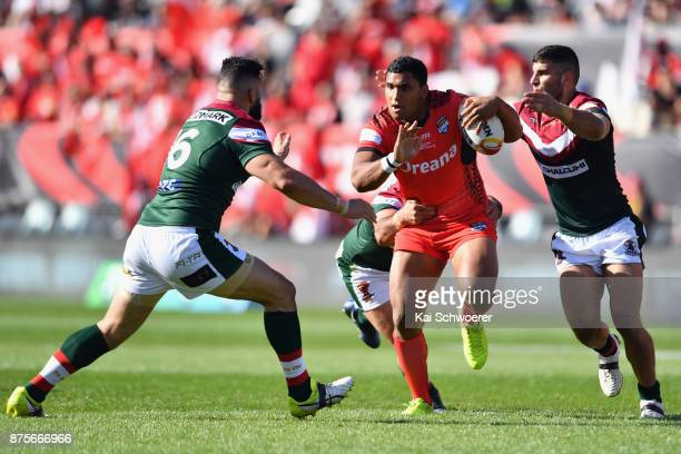 Tevita Pangai Junior of Tonga charges forward during the 2017 Rugby League World Cup Quarter Final match between Tonga and Lebanon at AMI Stadium on...