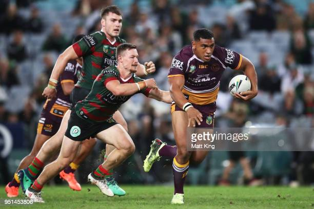 Tevita Pangai of the Broncos makes a break during the NRL round eight match between the South Sydney Rabbitohs and the Brisbane Broncos at ANZ...