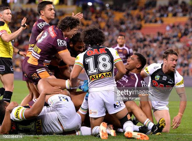 Tevita Pangai of the Broncos scores a try during the round 19 NRL match between the Brisbane Broncos and the Penrith Panthers at Suncorp Stadium on...