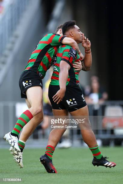 Tevita Tatola of the Rabbitohs celebrates scoring a try during the NRL Elimination Final match between the South Sydney Rabbitohs and the Newcastle...