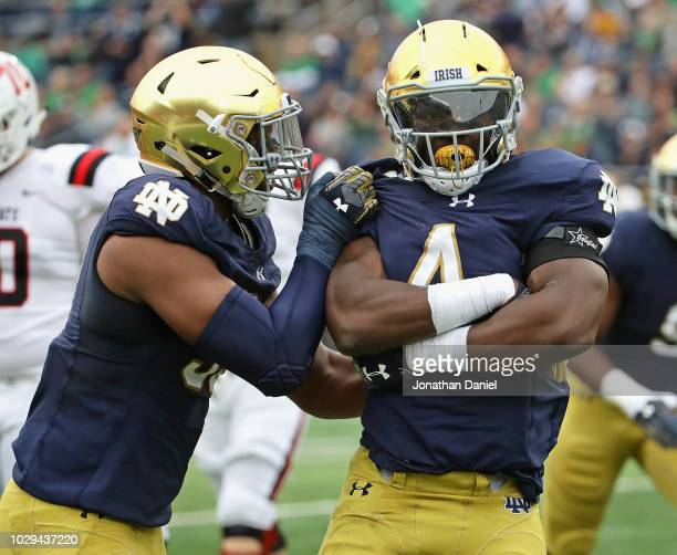 Te'von Coney of the Notre Dame Fighting Irish celebrates a sack with Khalid Kareem against the Ball State Cardinals at Notre Dame Stadium on...