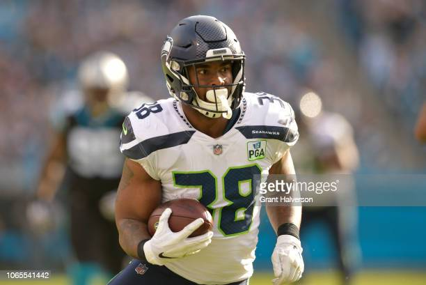 Tevon Mutcherson of the Seattle Seahawks runs against the Carolina Panthers during the first half of their game at Bank of America Stadium on...
