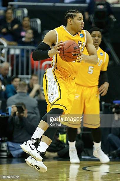 Tevonn Walker of the Valparaiso Crusaders controls the ball during the second round of the 2015 NCAA Men's Basketball Tournament at Nationwide Arena...