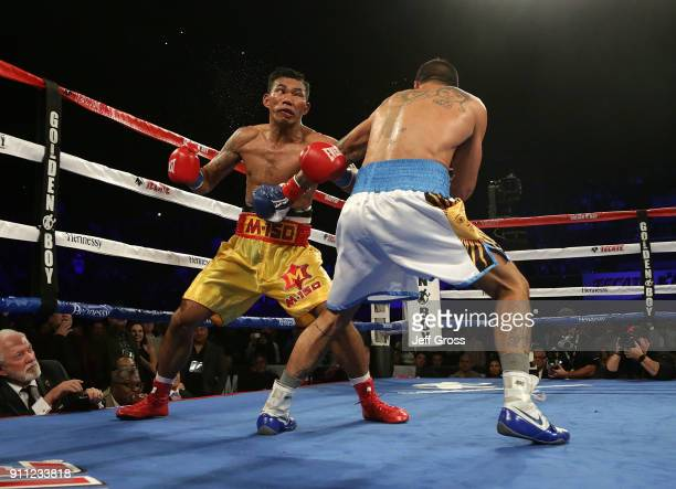 Tewa Kiram of Thailand is knocked out by Lucas Matthysse of Argentina during their bout at The Forum on January 27 2018 in Inglewood California