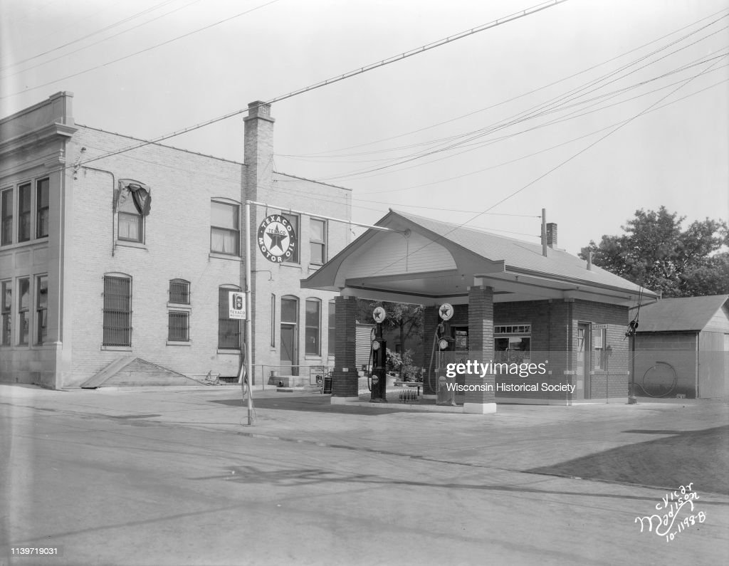 Texaco gasoline station with two gas pumps, Mount Horeb, Wisconsin