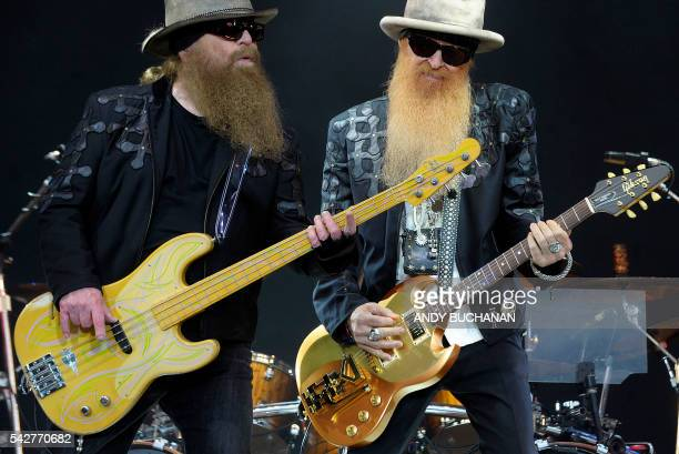 Texan band ZZ Top perform on the Pyramid stage on day three of the Glastonbury Festival of Music and Performing Arts on Worthy Farm near the village...