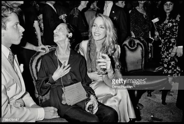 Texan born fashion model Jerry Hall at a fashion show party in New York City with fashion editor and columnist Diana Vreeland