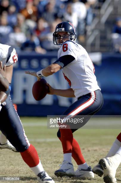 Texans David Carr looks to throw downfield during 1st half action between the Houston Texans and the Tennessee Titans on October 29 2006 at LP Field...
