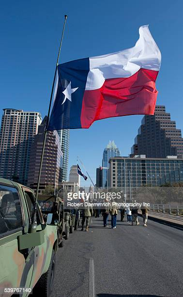Texans march up Congress Avenue for the annual Texas Independence Day parade to the Texas Capitol An official state holiday the day celebrates Texas'...