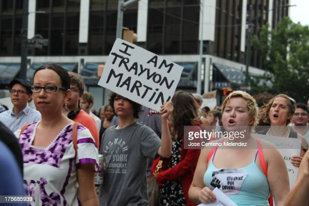 Texans protest in response to the acquittal of George Zimmerman in the Trayvon Martin murder trial.