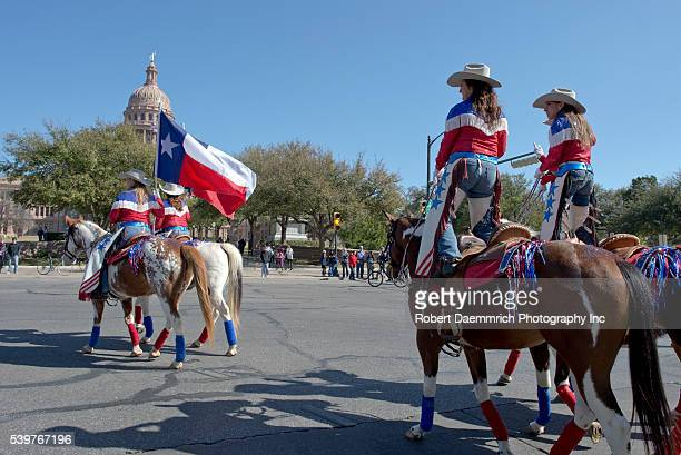 Texans ride up Congress Avenue for the annual Texas Independence Day parade to the Texas Capitol An official state holiday the day celebrates Texas'...
