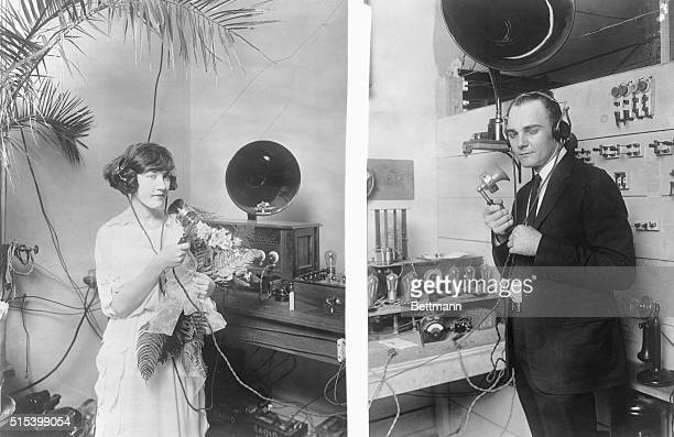 A Wedding Via Radio At left Miss Mable Brady the bride At the right John H Stone the groom They were married via Radio at different stations in...