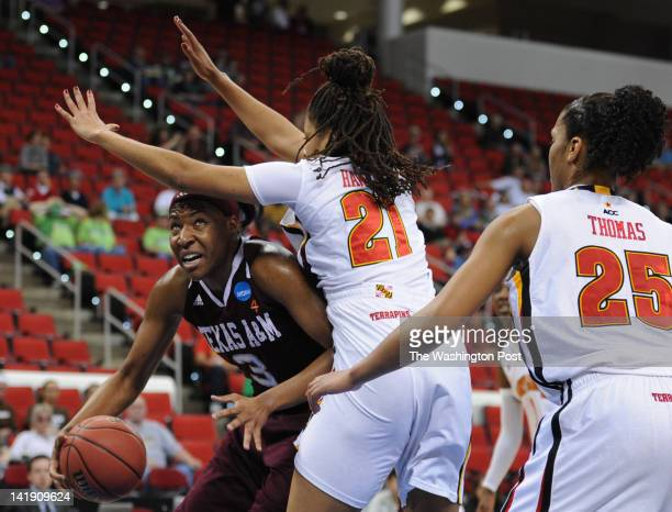Texas AampM Aggies center Kelsey Bone tries to drive to the basket under Maryland Terrapins forward Tianna Hawkins during a Regional Semifinal game...