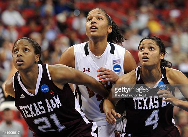 Texas AampM Aggies forward Adaora Elonu left and Texas AampM Aggies guard Sydney Carter right box out Maryland Terrapins forward Alyssa Thomas after...