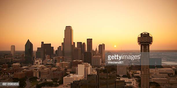 usa, texas, aerial photograph of the dallas skyline at sunrise - dallas stock pictures, royalty-free photos & images