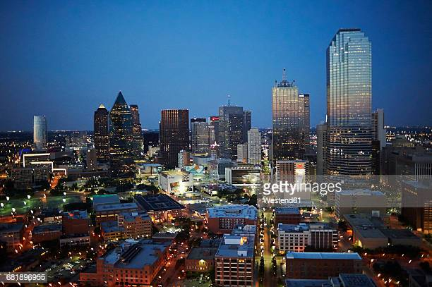 USA, Texas, Aerial photograph of the Dallas skyline in the early evening