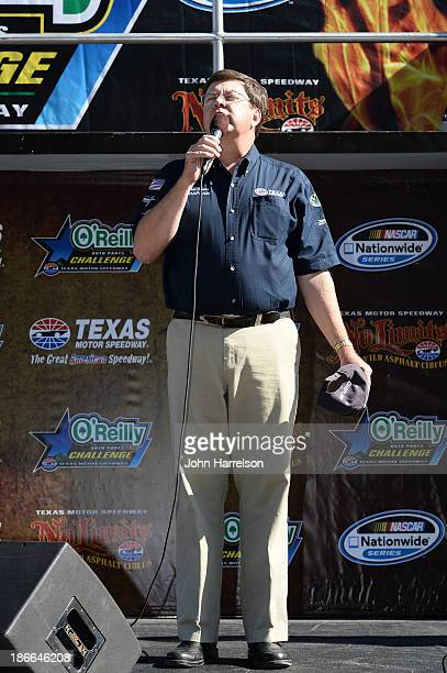 Texas Alliance Raceway Ministries Chaplain Bret Shisler delivers the invocation prior to the NASCAR Nationwide Series O'Reilly Auto Parts 300 at...
