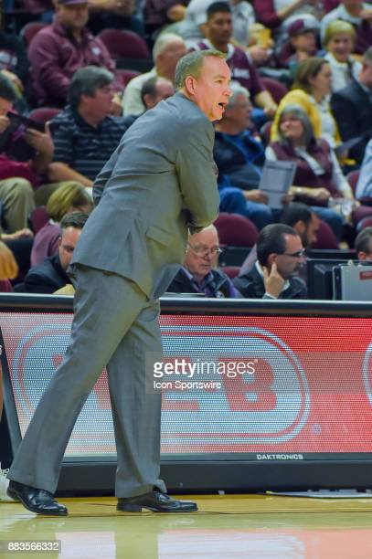Texas AM Aggie head coach Billy Kennedy calls an offensive play from the sideline during the basketball game between the University of Texas Rio...