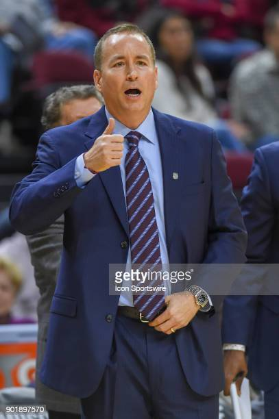 Texas AM Aggie head coach Billy Kennedy calls an offensive set from the sideline during the basketball game on January 6 2018 at Reed Arena in...