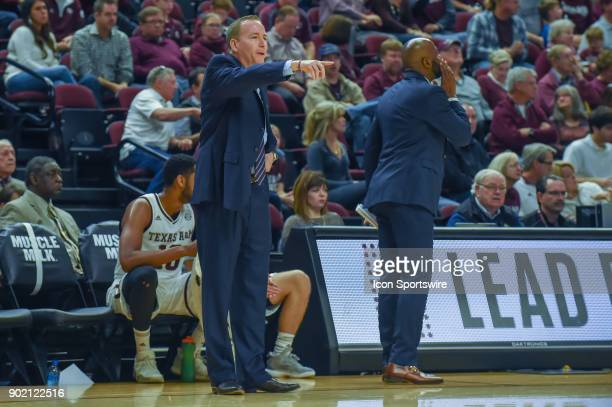 Texas AM Aggie head coach Billy Kennedy points from the sideline during the basketball game on January 6 2018 at Reed Arena in College Station TX