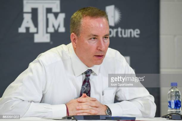 Texas AM Aggie head coach Billy Kennedy speaks during the post game press conference following the basketball game between the University of Texas...