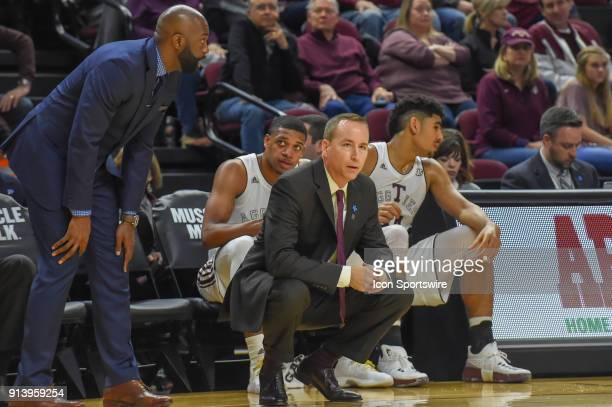 Texas AM Aggie head coach Billy Kennedy watches his defense get setup during the basketball game between the South Carolina Gamecocks and Texas AM...