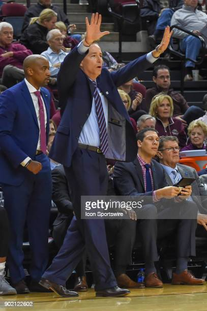 Texas AM Aggie head coach Billy Kennedy yells from the sideline during the basketball game on January 6 2018 at Reed Arena in College Station TX