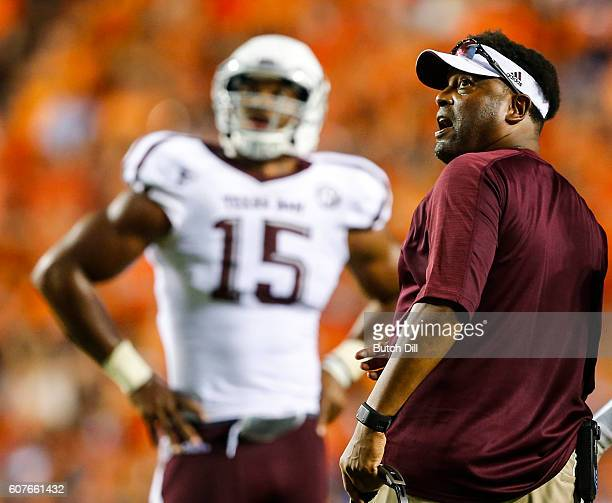 Texas AM Aggies coach Kevin Sumlin reacts during an NCAA college football game against the Auburn Tigers on September 17 2016 in Auburn Alabama