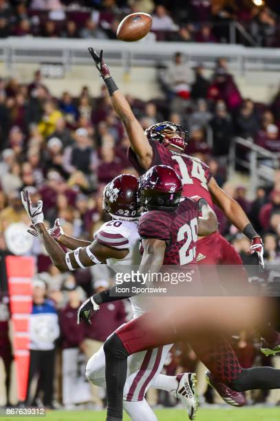 Texas AM Aggies defensive back Keldrick Carper extends to knock down a second half deep ball intended for Mississippi State Bulldogs wide receiver...