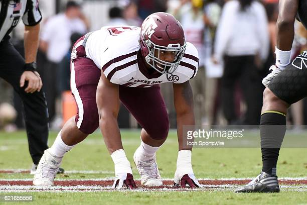 Texas AM Aggies defensive lineman Daeshon Hall in a four point stance during the football game between Mississippi St and Texas AM on November 5 2016...
