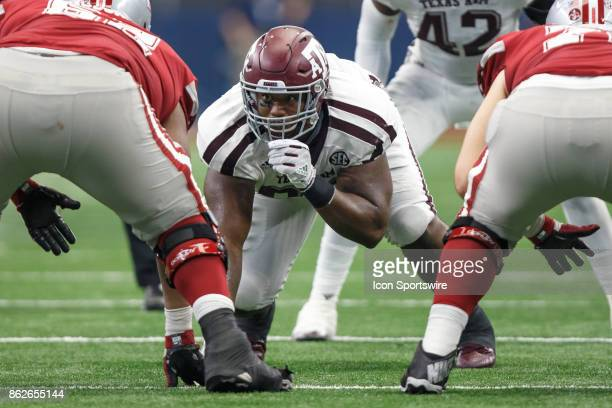 Texas AM Aggies defensive tackle Zaycoven Henderson prepares for the snap during the college football game between the Arkansas Razorbacks and Texas...