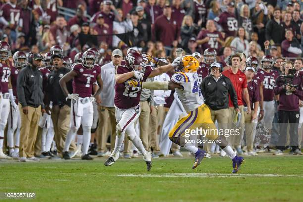Texas AM Aggies fullback Cullen Gillaspia runs following a reception during a game between the LSU Tigers and the Texas AM Aggies on November 24 2018...