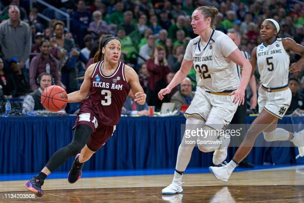 Texas AM Aggies guard Chennedy Carter battles with Notre Dame Fighting Irish forward Jessica Shepard in game action during the Women's NCAA Division...