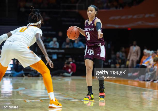 Texas AM Aggies guard Chennedy Carter being guarded by Tennessee Lady Vols guard Rennia Davis on February 16 at ThompsonBoling Arena in Knoxville TN