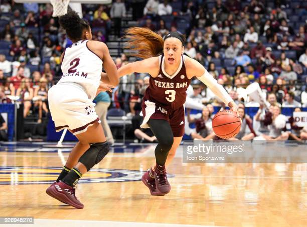 Texas AM Aggies guard Chennedy Carter dribbles the ball as m2 guards during the third period between the Mississippi State Lady Bulldogs and the...
