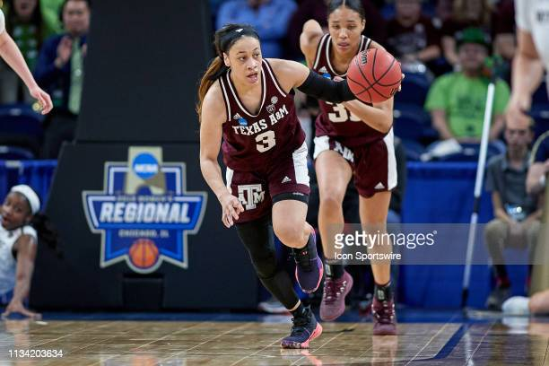 Texas AM Aggies guard Chennedy Carter dribbles the ball in game action during the Women's NCAA Division I Championship Third Round game between the...