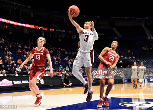 Texas AM Aggies guard Chennedy Carter makes the lay up against the Arkansas Lady Razorbacks during the fourth period between the Arkansas Razorbacks...
