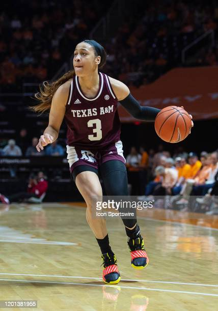 Texas AM Aggies guard Chennedy Carter moves the ball during the first half against the Tennessee Lady Vols on February 16 at ThompsonBoling Arena in...