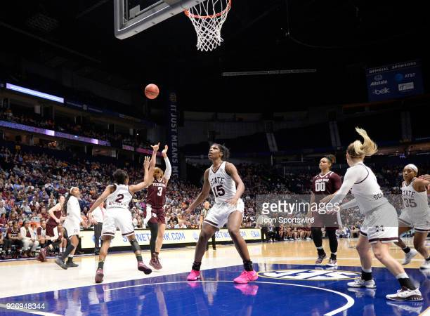 Texas AM Aggies guard Chennedy Carter shoots the ball over Mississippi State Lady Bulldogs guard Morgan William during the fourth period between the...