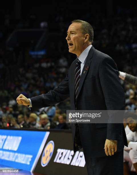Texas AM Aggies head coach Billy Kennedy talks to the referee during the NCAA Division I Men's Championship First Round game between the Texas AM...