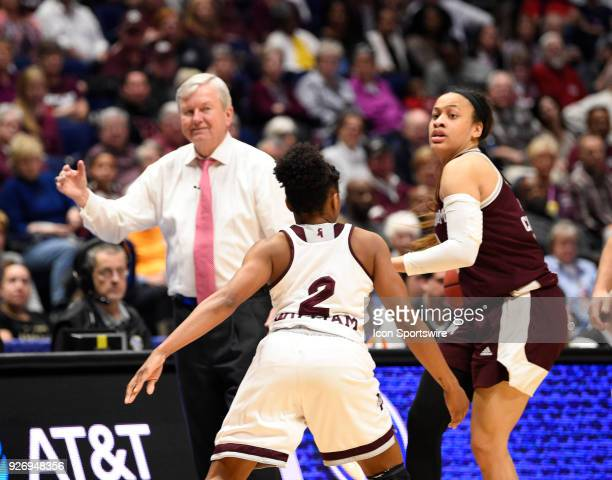 Texas AM Aggies head coach Gary Blair calls to the players as Texas AM Aggies guard Chennedy Carter dribbles and Mississippi State Lady Bulldogs...