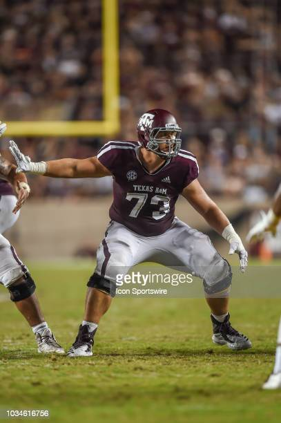 Texas AM Aggies offensive lineman Jared Hocker gets ready to block during the game between the Louisiana Monroe Warhawks and the Texas AM Aggies on...